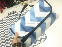 Leftover Stock Blue and White Stripe Waterproof Travel Blanket, Picnic Mat