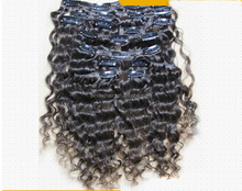 Unprocessed raw peruvian real human hair clip in curly hair extension 7pcs for one full head