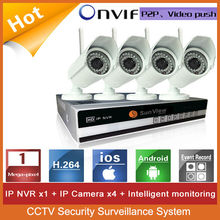 4ch NVR KIT 720P 1.0mp wifi outdoor IP Camera P2P Wifi Ip Camera With Nvr Kit CCTV Security Surveillance system