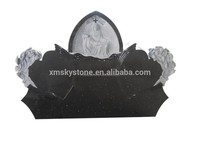 Gothic Top With Flower Carving and Relif Black Galaxy Granite Heart Shaped Headstone