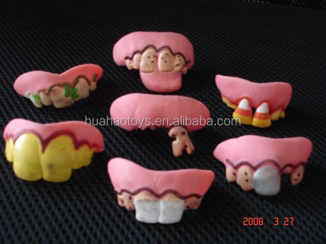 Cálida bienvenida inteligente barato divertido dientes falsos
