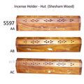 De madera caja de incienso- tipo cabaña