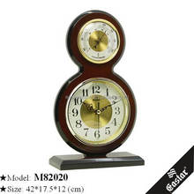 Wood clock table quartz clock thermometer with clock