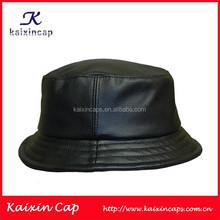 OEM Wholesale Custom Black Leather Bucket Cap/Hat