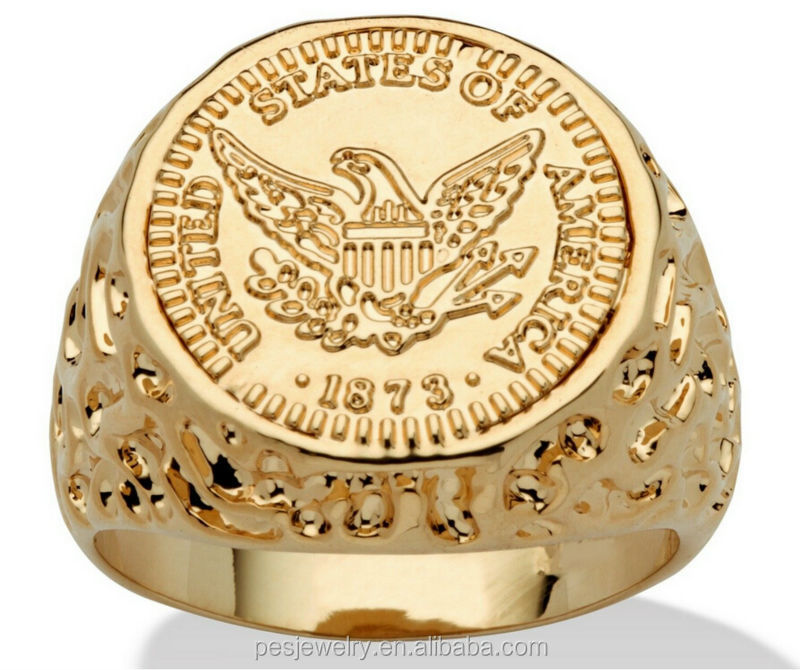 Mens jewelry 14k gold plated 925 stering silver coin ring for Wholesale 14k gold jewelry distributors
