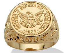 Mens jewelry 14k gold plated 925 stering silver Coin Ring wholesale