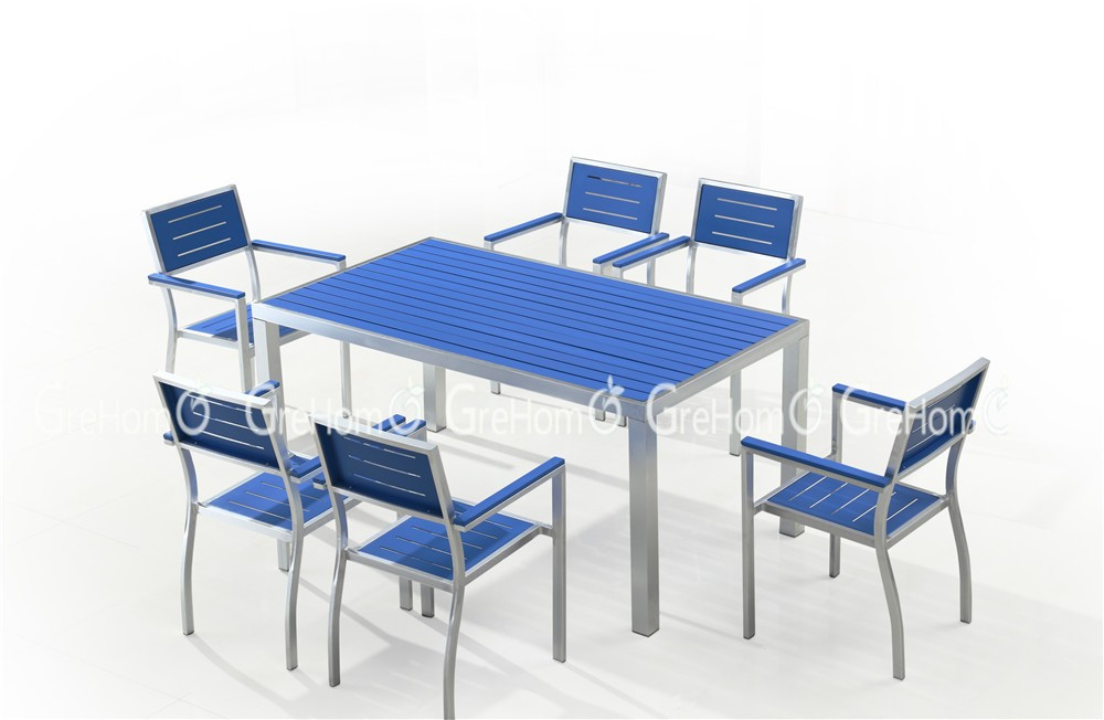 Composite Dining Set : Wood plastic composite outdoor furniture blue dining table