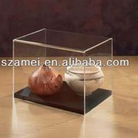 clear acrylic display box with black base