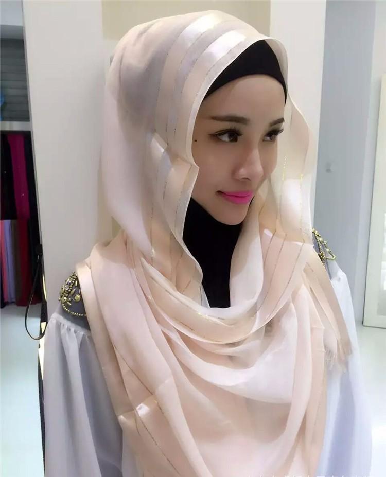 Feuille d\u0027or bande de mode arabe belle foulard islamique femmes musulmanes  hijab