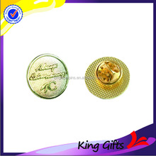 Gold plated no paint metal lapel pin with betterfly clutch