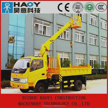 mini 6.3t hyraulic boom telescopic crane for trucks with work platform with cradle for lifting