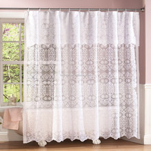White Shower Curtains with Hooks / Lace Bathroom Shower Curtain /Custom Printed Shower Curtain