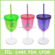2015 best selling 350ml double wall plastic mug for soft drink