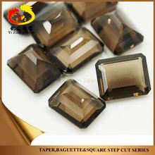 natural smoky mineral rough crystal quartz stone cut octagon step cut for silver bracelet
