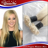 Nail/U Tip Hair Extension, 100% Cheap Unprocessed remy u tip keratin human hair extension wholesale fusion hair extension