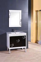 Modern PVC Bathroom Ceramic Wash Basin Mirror Cabinet with Flower Picture