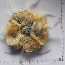 fabric and feather handmade flower clip pin