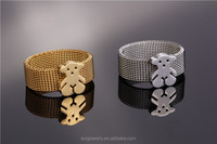 china jewelry wholesale Mesh ring with Bear Charm latest gold ring designs