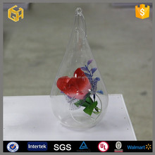 Chinese hanging glass ball vase with hole for home decoration