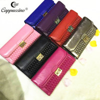 Stock Designed pattern ladies clutch bags, sheep skin leather clutch bag