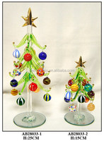 shining glass pine trees with colorful balls for christmas decoration