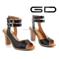 SEXY CROSS ANKLE STRAP CUFF THICK HIGH HEEL WOMEN PUMP-TOE SANDAL