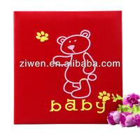 Embroidery bear leather baby photo album 160 pockets--4x6''/10x15cm