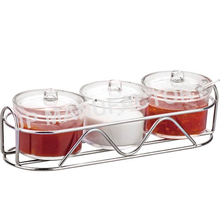 Wholesale Crystal clear 400ml three pieces Acrylic condiment pot set with Spoon 690