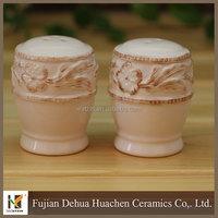 White Embossed Ceramic Salt And Pepper Shakers