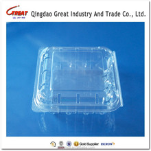 Wholesale PET Small Square Raspberry Clamshell for Berry Packaging