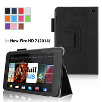 2014 new magnetic slim book leather case for Kindle Fire HD7