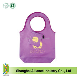 Hot sale new design reusage folding round shouder hand tote bags recycle shopping shoulder folding bags