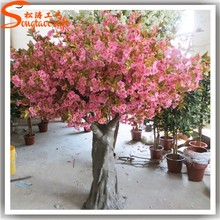 Guangzhou wholesale artificial indoor peach tree fake Led christmas pink cherry blossoms trees