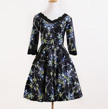 Medio vendimia vestido mangas baile americana ropa de diseño en 50 vestidos vintage