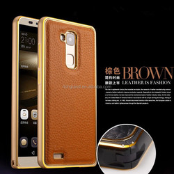 Luxury metal frame + genuine leather back case cover for Huawei Ascend Mate 7