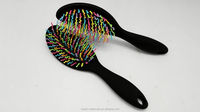 wholesale colorful household soft touch S wave detangling rainbow hair brush