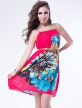 Paypal accept hot sale big flower high quality sexy red strap 2015 summer dress
