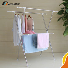 Convenient telescopic stainless steel laundry rack with towels rack