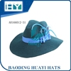 Green wool felt wide brim fedora hat with satin ribbon band blue feather decoration