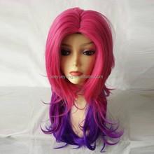 Red Gradient Color Long Curly Hairstyle Synthetic Wig for Daily Use or Cosplay