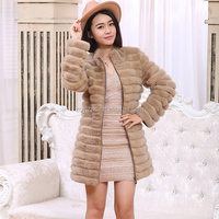 Genuine dyed marten fur Coat with detachable sleeve