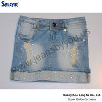 2014 fashion denim jeans wholesale china European Style Sequined Hem Denim Skirts for hot Women and Girls