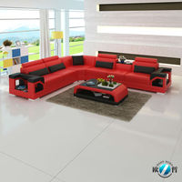 Modern furniture L-shape leather sofa with little table