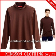 Customized bulk plain stand collar long sleeve knitted t shirt
