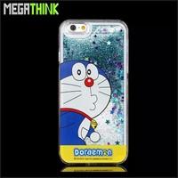 Bling Bling Glitter Star Flow Sand Hard Phone Case Cover for iPhone 5 5S 6 6plus Cute DORAEMON