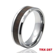 Fashion design Mens Brown wood inlaid tungsten ring for wedding