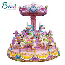 Alibaba china best sale fiberglass 9 seats amusement park rides large rotating used small musical toy carousel for children