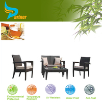 4pcs Chinese Manufacturer Classical Rattan Glass Top Tables And Chairs