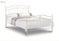 wood slat base gloss white metal queen bed