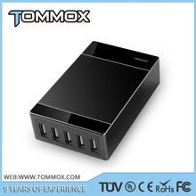 Tommox Mobile Phone Charger For Iphone,5 Gang Usb Wall Socket,Intelligent Power Strip Outlet